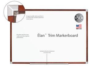 "Elan Trim Porcelain Markerboard - 33.75""H x 48""W"