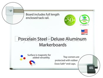 Porcelain Steel Markerboards - Aluminum Trim - 4'H x 6'W