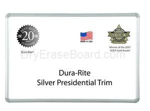 Presidential Silver Trim - Dura-Rite™ MarkerBoard 2'H x 3'W