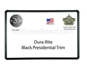 Presidential Black Trim - Dura-Rite™ MarkerBoard 3'H x 5'W