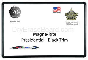 Presidential Black Trim - Magne-Rite Markerboard - 1.5'H x 2'W