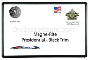 Presidential Black Trim - Magne-Rite Markerboard - 4'H x 6'W