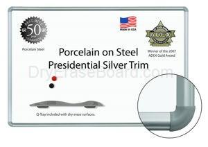 "Presidential Silver Trim - Porcelain Steel Markerboard 33¾""H x 4'W"