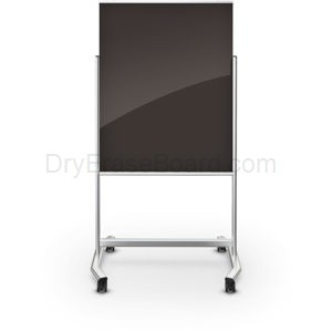 Visionary Move Mobile Black Magnetic Glass Whiteboard 4'H x 3'W