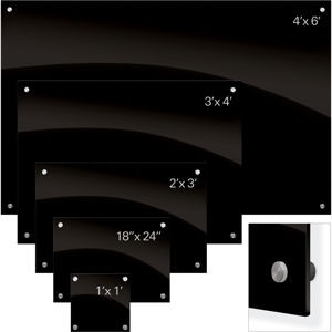 Enlighten Glass Dry Erase Markerboard - Black 1.5'H x 2'W