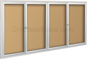 Deluxe Bulletin Board Cabinets 4'H x 8'W - 4 hinged doors