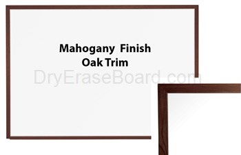 Oak Trim Mahogany Finish Porcelain Steel Markerboard 1.5'H X 2'W