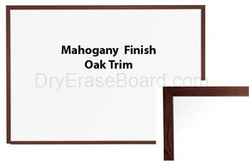 Oak Trim - Mahogany Finish Porcelain Steel Markerboard 4'H x 4'W